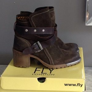 Fly London greenish brown suede lug boots